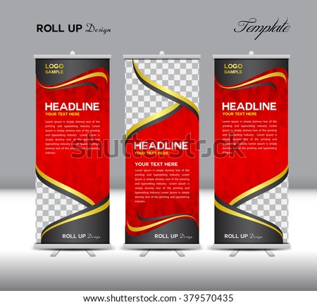 Red Roll Up Banner template vector illustration,polygon background,banner design,stan-dy template,roll up display,advertisement,Roll up banner design,Red background - stock vector
