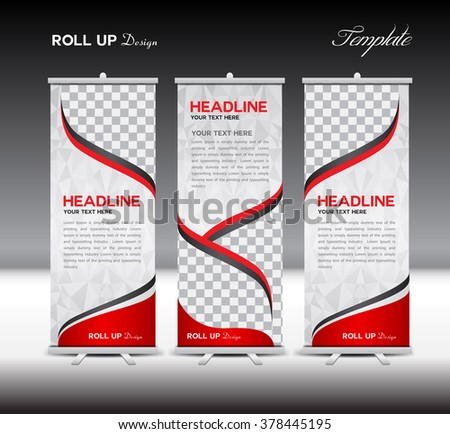 Red Roll Up Banner template vector illustration,polygon background,banner design,standy template,roll up display,advertisement,Roll up banner design,red background - stock vector