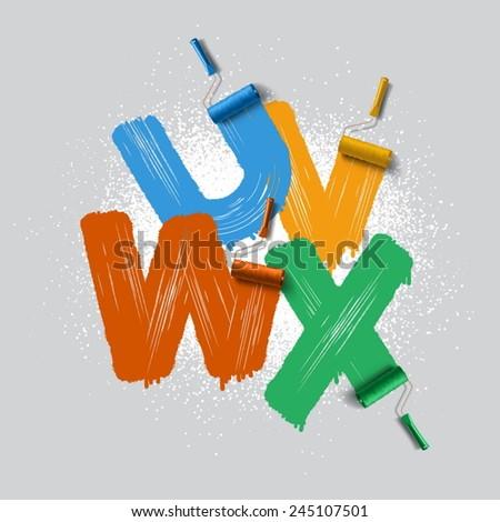 Red roller brush alphabet font  - stock vector