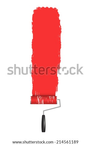 Red Roller Brush Painting on Wall. Various Paint Strokes on White Background. Vector Design Elements for Your Text. - stock vector