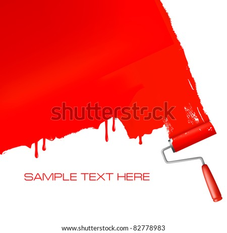 Red roller painting the white wall. Vector background. - stock vector