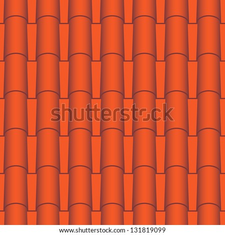 Red roof tiles seamless. Vector texture - stock vector