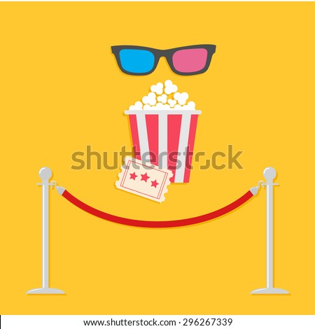 Red rope barrier stanchions turnstile 3D glasses big popcorn and ticket. Cinema icon in flat design style. Vector illustration - stock vector