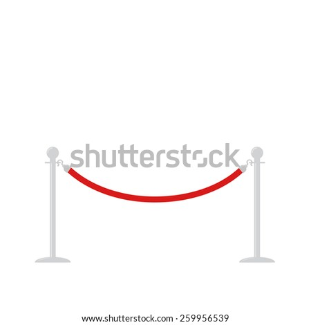 Red rope barrier stanchions turnstile facecontrol on white background Flat design Vector illustration