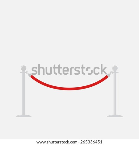 Red rope barrier stanchions turnstile Isolated template Flat design Vector illustration - stock vector