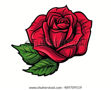 Tattoo rose stock images royalty free images vectors shutterstock red rose cartoon style on white background urmus Image collections
