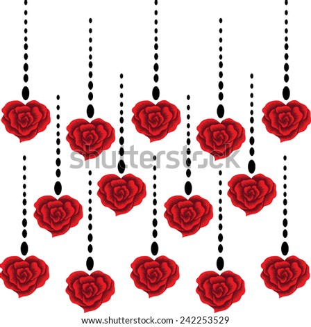 Red rose for lover.Designs vector lined of heart. - stock vector