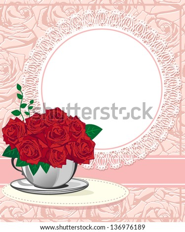 Red rose in a white cup. Wedding invitations or announcements - stock vector