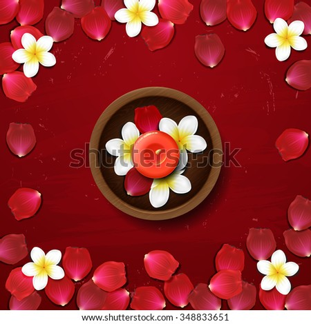red rose petals . spa background with rose petals - stock vector