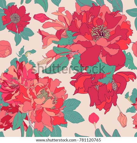 Red Rose Seamless Botanical Vector Background