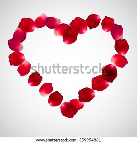 Red rose vector petal Heart frame isolated on white background.  Eps 10