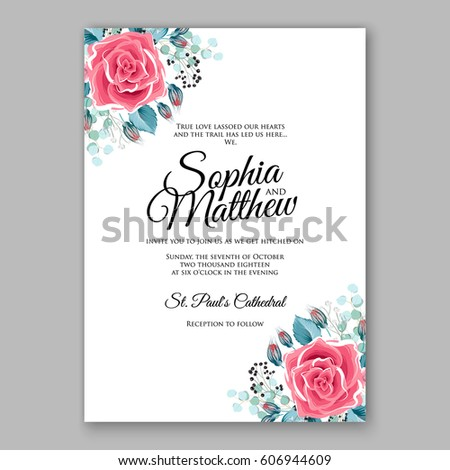 Red Rose Wedding Invitation Card Bridal Vector 606944657 – Red Rose Wedding Invitation