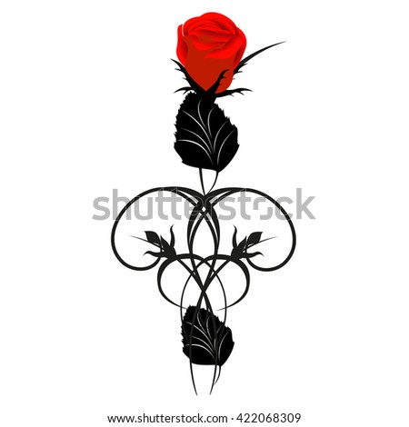 Red rose with black design elements.