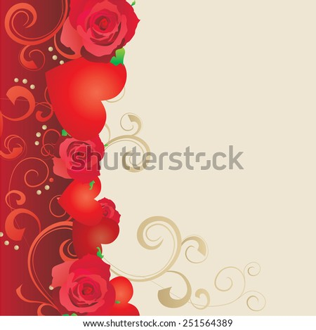 red roses border - stock vector
