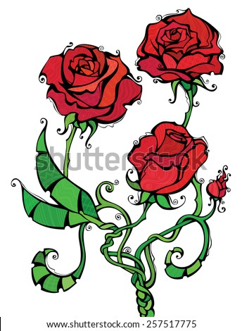 Red roses illustration. Three red roses isolated on white background. Patterns, black outline, coloured elements are on separate layers. For your Valentine's or wedding design.  - stock vector