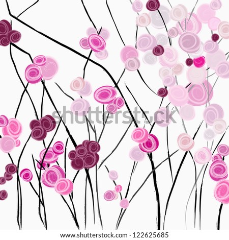 red roses, illustration with abstract flowers, springtime - stock vector