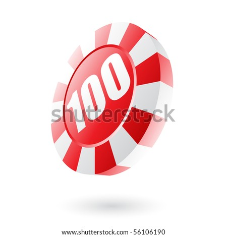Red roulette chip isolated on white - stock vector