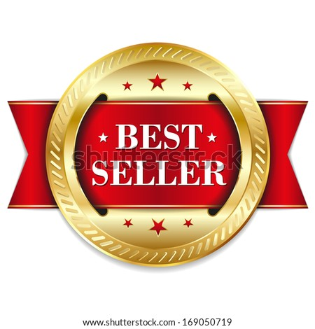 Red round best seller badge with ribbon - stock vector