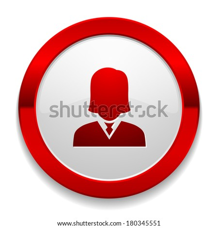 Red round button with female icon - stock vector