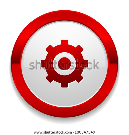 Red round button with gear icon - stock vector