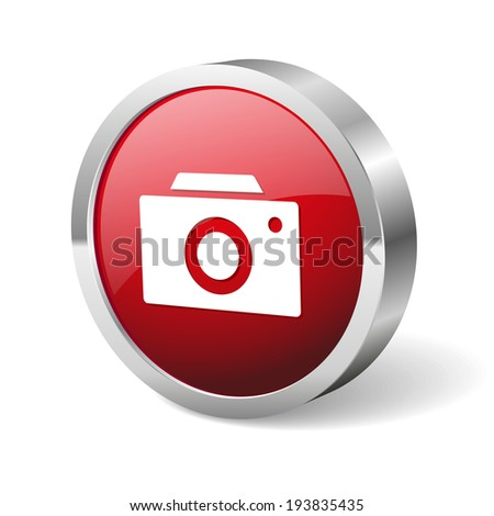 Red round camera button with metallic border on white background - stock vector