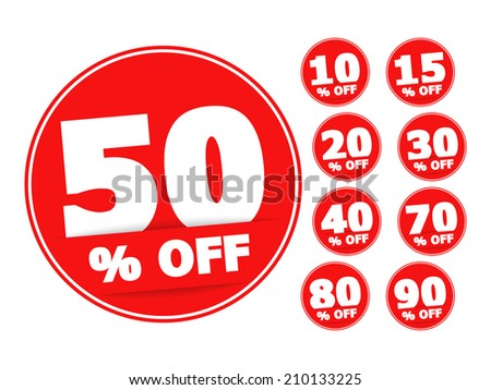 Red round discount labels set, vector eps10 illustration - stock vector