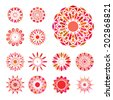 Red round east ornament set. Vector spirographs - stock vector