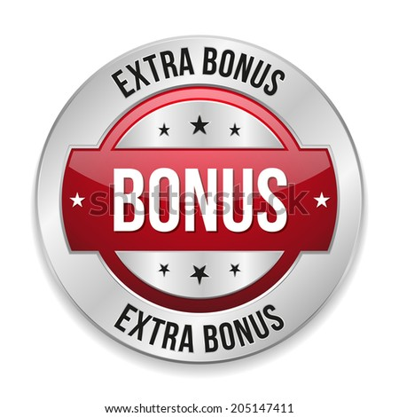 Red round extra bonus button with metallic border