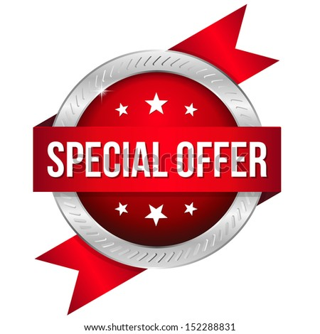 Red round special offer button with ribbon - stock vector