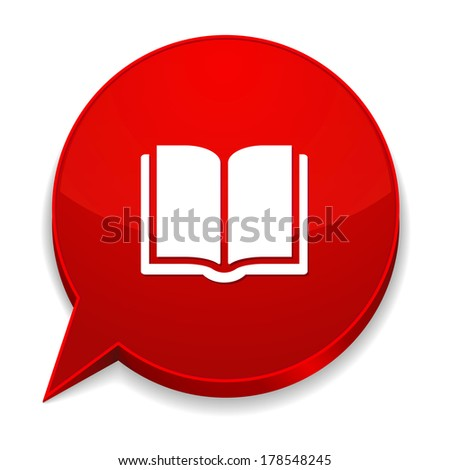 Red round speech bubble with electronic book icon - stock vector