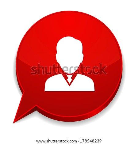 Red round speech bubble with male icon - stock vector