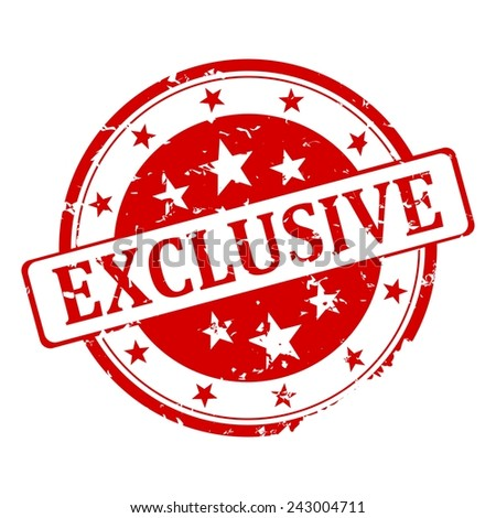 Red round stamp with the word exclusive - illustration - stock vector