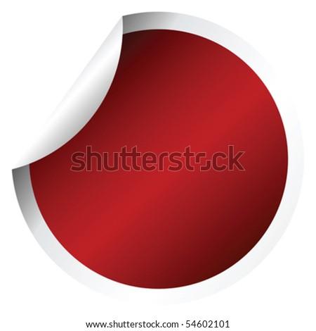 Red round sticker - stock vector