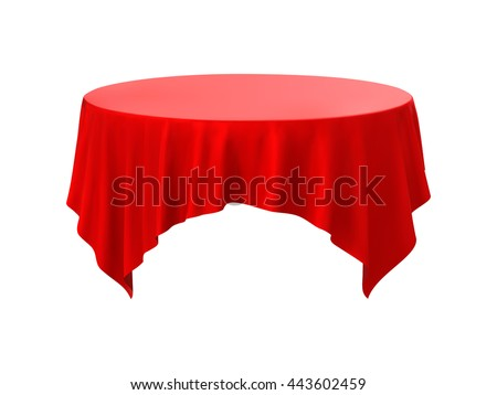 Red Round Tablecloth Table On A White Background