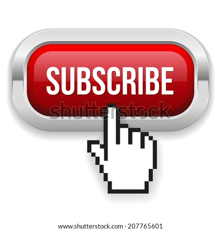 Red rounded subscribe button with metallic border on white background - stock vector