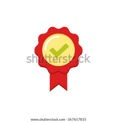 Red rubber stamp seal vector icon with tick and ribbon, approved label symbol, confirmation badge, concept of award prize, medal emblem flat modern design isolated on white  - stock vector