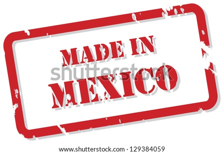 Red rubber stamp vector of Made In Mexico
