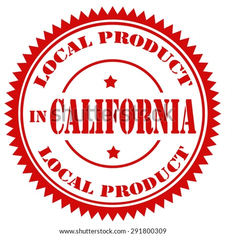 Red rubber stamp with text Local Product In California,vector illustration - stock vector