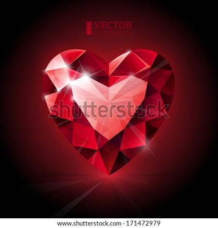 Red ruby heart shape. RGB EPS 10 vector illustration - stock vector