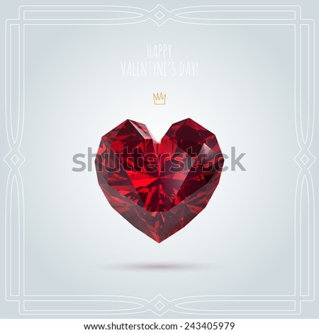 red ruby precious gem in shape of heart, vector illustration - stock vector