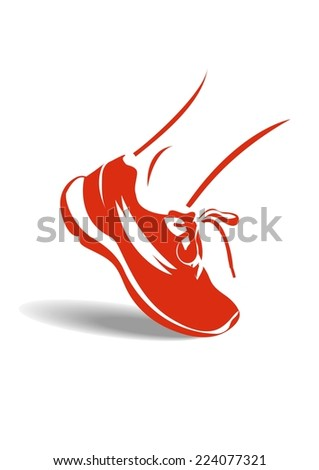Red running shoe - stock vector