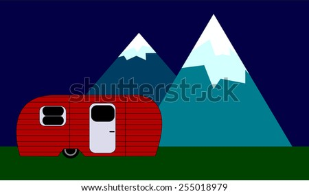 Red RV Mountains - stock vector