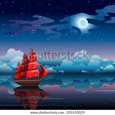 Red sailboat and starry sky with full moon reflected in calm sea. Night nature vector seascape. - stock vector
