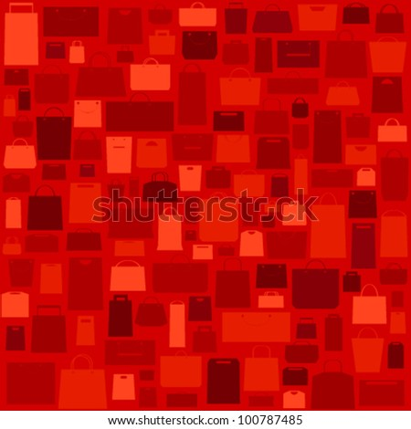 Red sale background with shopping bags pattern. - stock vector