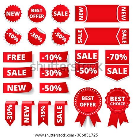 Red sale banners, labels, stickers, tags, vector eps10 illustration - stock vector