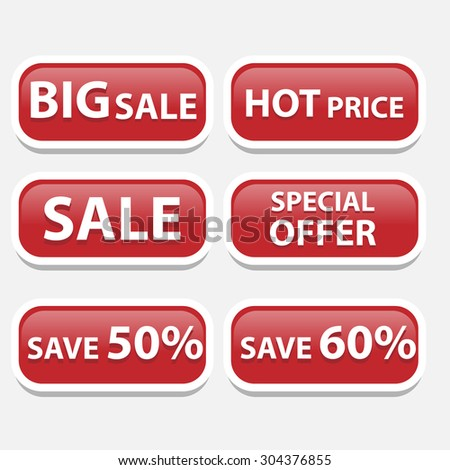 Red sale bubble tags - stock vector