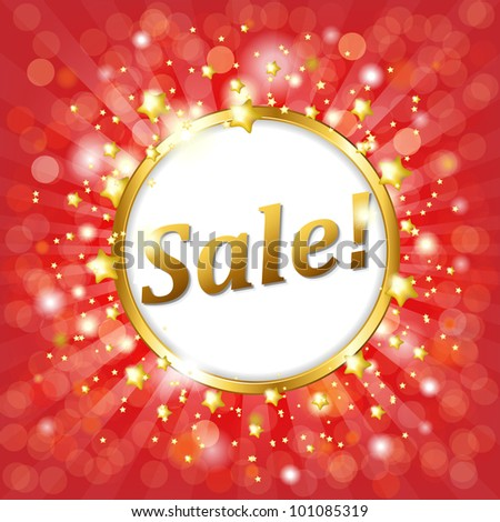 Red Sale Poster With Bokeh And Star, Vector Illustration - stock vector