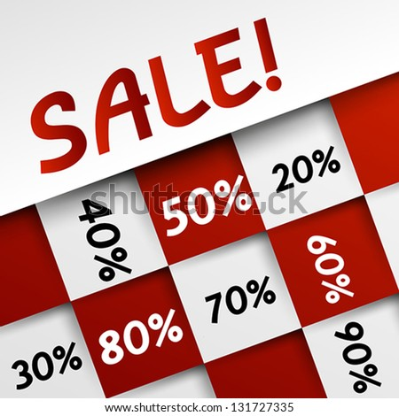 red sale square template. modern sale concept. - stock vector