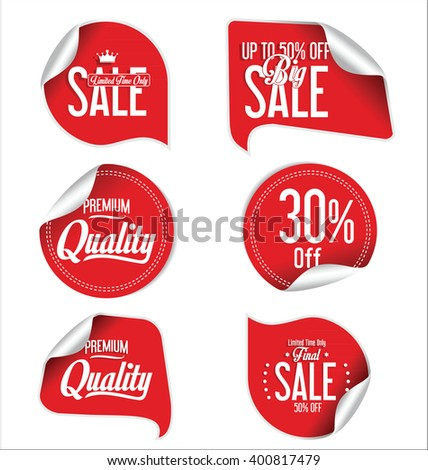 Red sale stickers and tags collection - stock vector