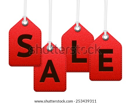 Red sale textile labels, hanging isolated vector tags - stock vector